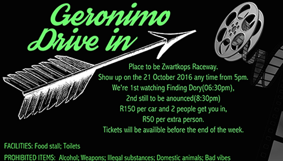 Imagine a night out under the stars (be it in a snazzy convertible or a bakkie) ...