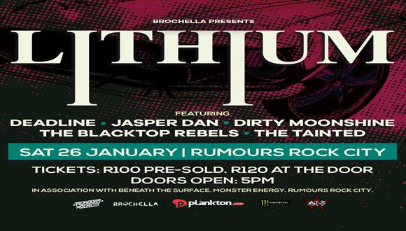 Brochella presents Lithium and more live at Rumours Rock City on Saturday 26 Jan...